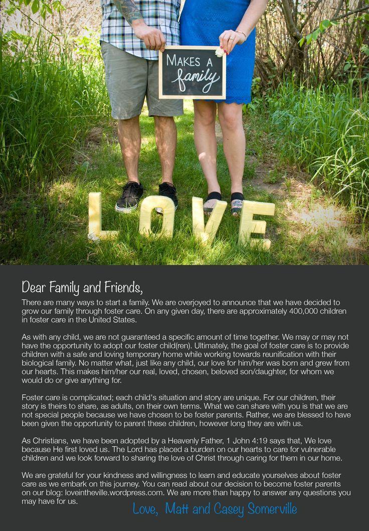 Foster care announcement foster announcement _ pflege