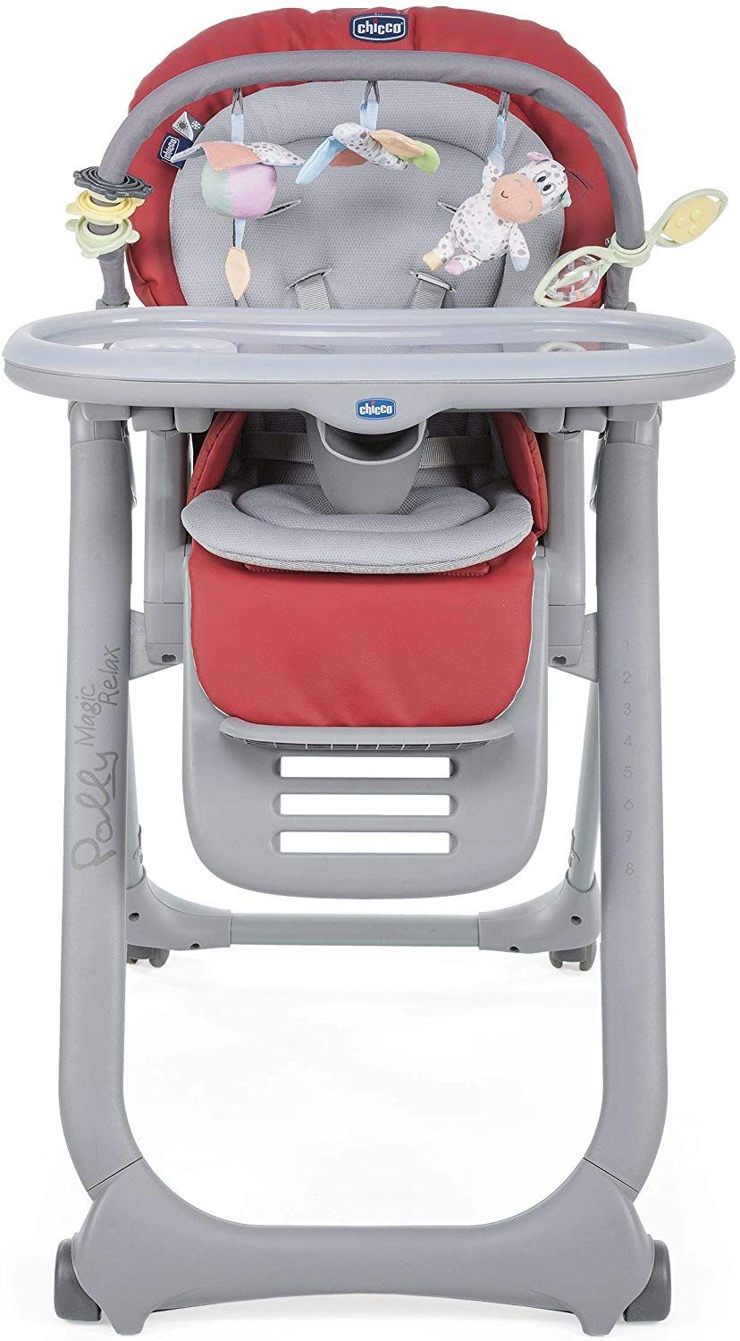 Chicco Chaise Haute Bébé Polly Magic Relax 4 Roues Scarlet Dossier
