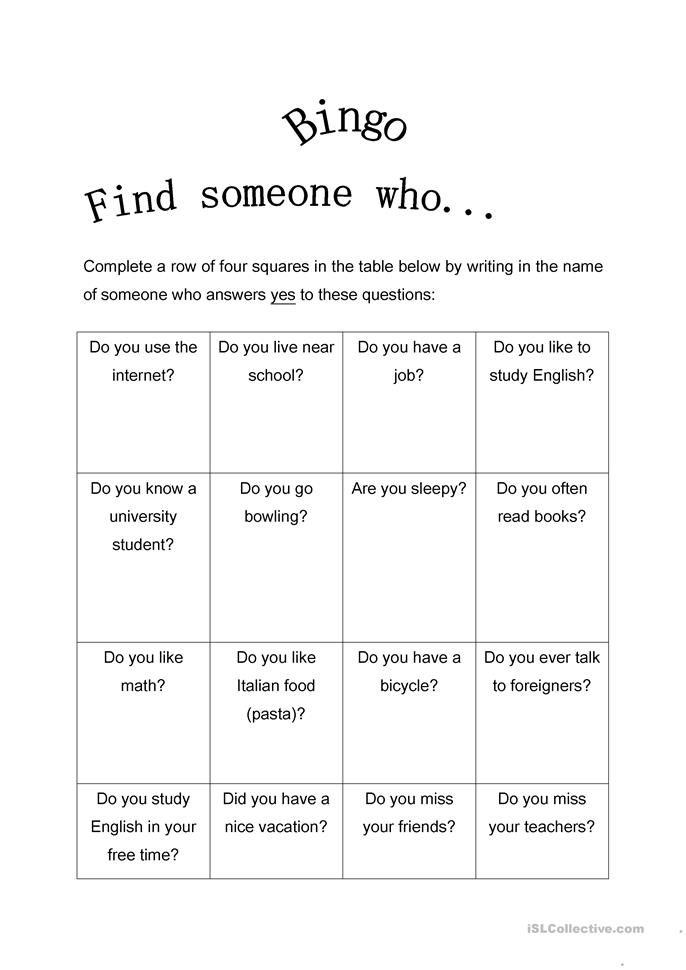 find someone who bingo present simple adult esl bingo bingo games free speaking games. Black Bedroom Furniture Sets. Home Design Ideas