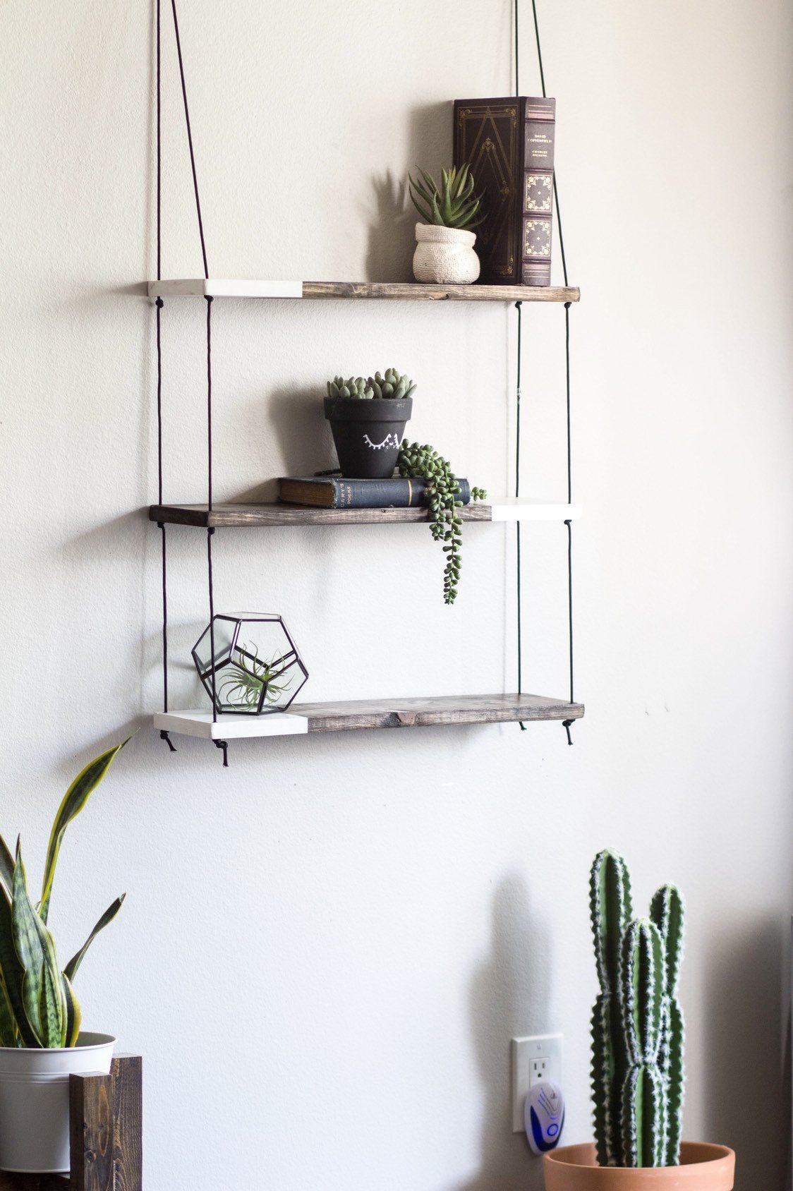 Trio Two Tone Shelf Hanging Shelf Hanging Shelves Three Etsy Hanging Shelves Wood Shelves Shelves