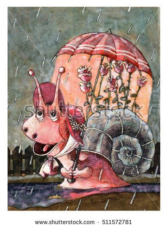 Улитка very beautiful snail in a pink hat and hiding under an umbrella from the rain Illustration, watercolor