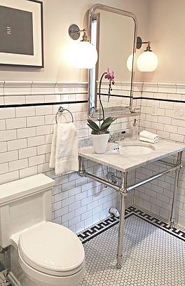 jamie-bellessa, subway tile, Greek key, marble sink , black and white , bathroom