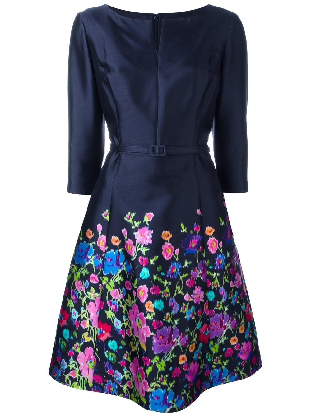 Oscar De La Renta Woman Floral-print Cotton-poplin Dress Fuchsia Size 8 Oscar De La Renta The Cheapest Sale Online 98TUedlkJ