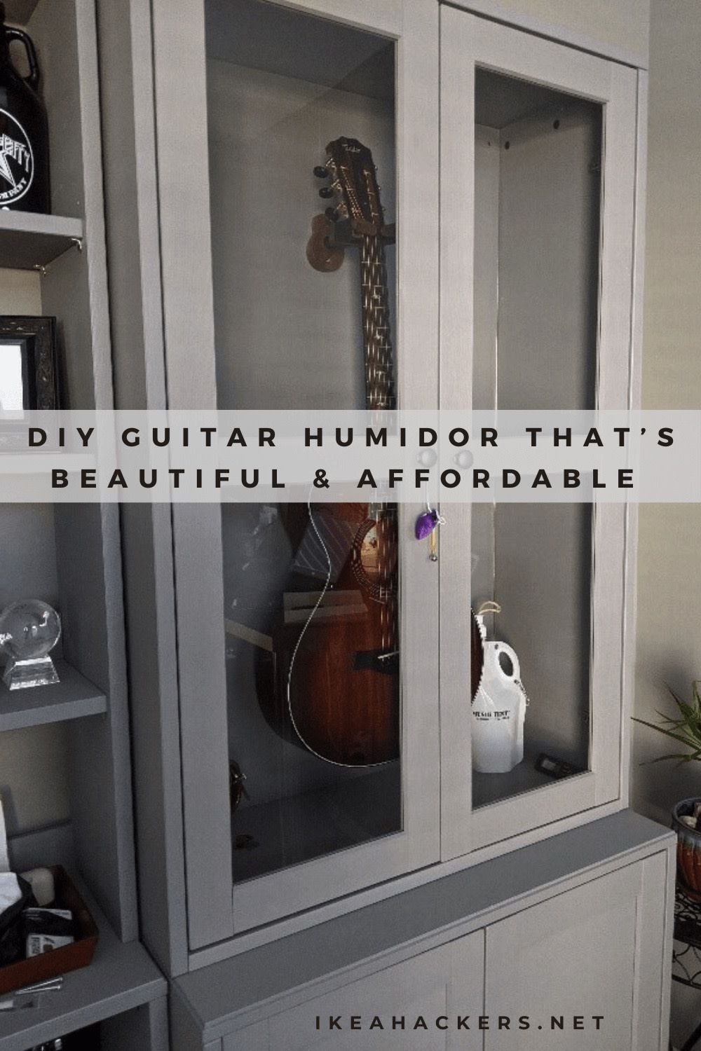 Make A Beautiful And Affordable Guitar Humidor Ikea Hackers In 2020 Guitar Display Case Ikea Glass Cabinet Doors