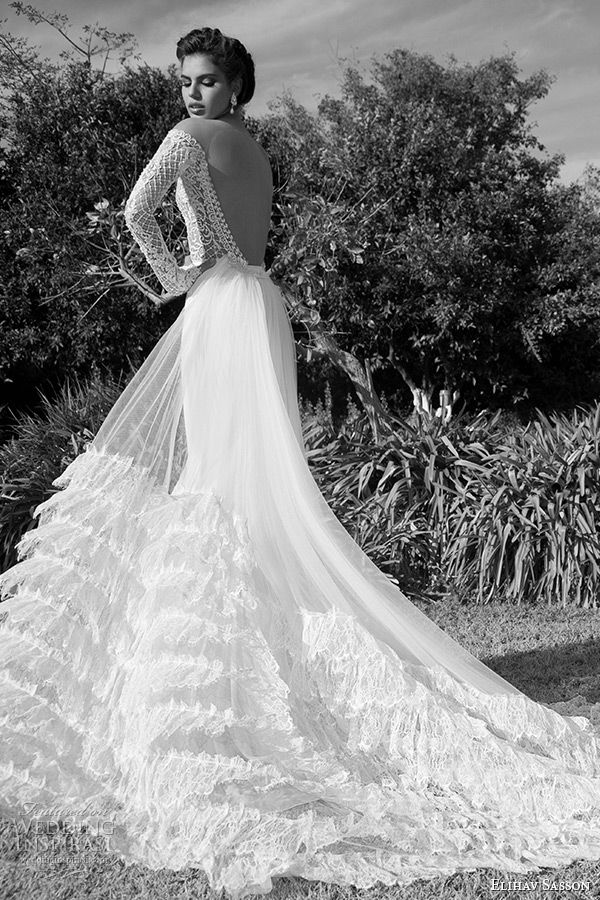 4497f2b4e097 elihav sasson wedding dress 2015 lace long sleeves ultra low cut back  sheath bridal gown with tulle train