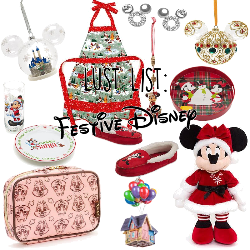 Lust List: Festive Disney   As you are probably aware by now I am a bit of a sucker for Disney things. After growing up visiting Disney World ever year it's a habit I find hard to break! Here are some of my favourite festive Disney items. 01.Castle Christmas Decoration- The castle is my favourite. 02.Walt Disney World Christmas Apron- Perfectly practical in every way! 03.Mickey Mouse Head Stud Earrings- I just love Mickey jewellery. I have one pair of birthstone studs already. I would love…