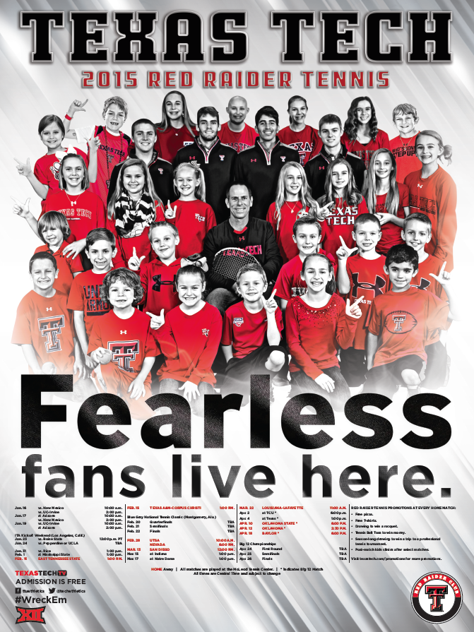 Texas Tech Men's Tennis Poster (2015) Texas tech, Sports