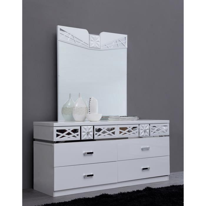 Commode adulte ultra design + miroir laqué blanc - Achat / Vente
