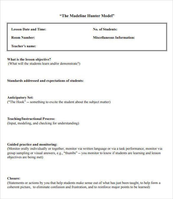 Related image Teaching Pinterest - sample madeline hunter lesson plan template