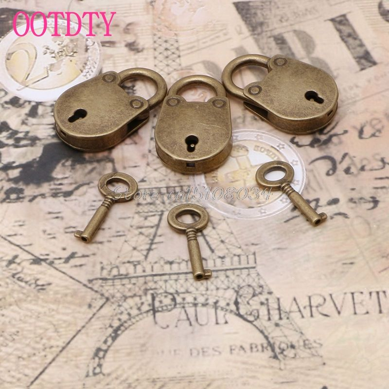 Old Vintage Antique Style Mini Archaize Padlocks Key Lock With Key Lot Of 3 S018y High Quality 南京錠 アンティーク 古風