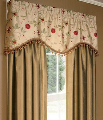 Embroidered Floral Scalloped Valance Curtains Living Room Dining Room Curtains Living Room Drapes