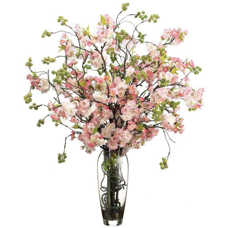 Cherry Blossoms Arrangement In Clear Vase Cherry Blossom Vase Cherry Blossom Flowers Flower Arrangements