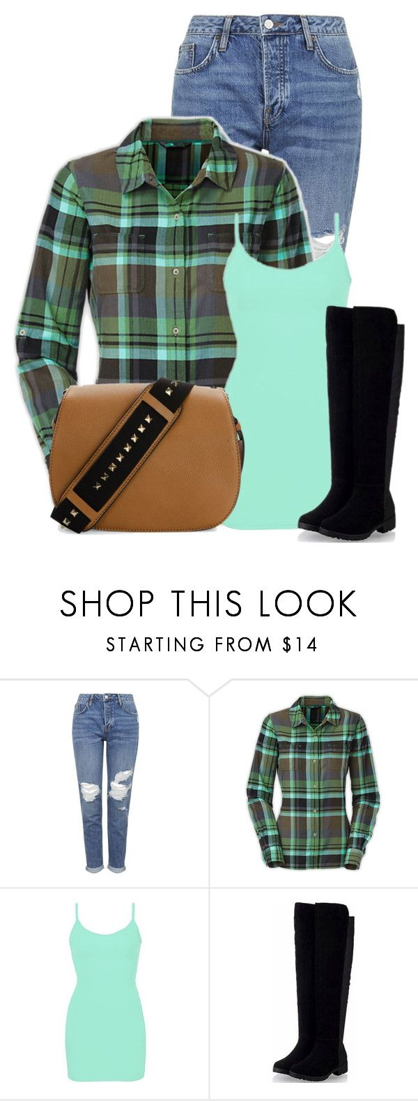 """""""Untitled #12456"""" by nanette-253 ❤ liked on Polyvore featuring moda, Topshop, The North Face, BKE core e Valentino"""