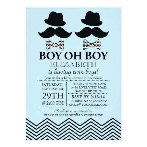 Modern Boy Little Man Mustache TWINS Baby Shower Custom Invites Invitation