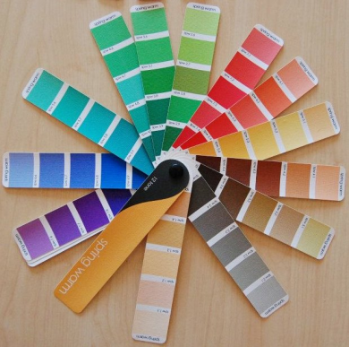 lime green, aqua, and coral color pallet   warm Spring color wheel.