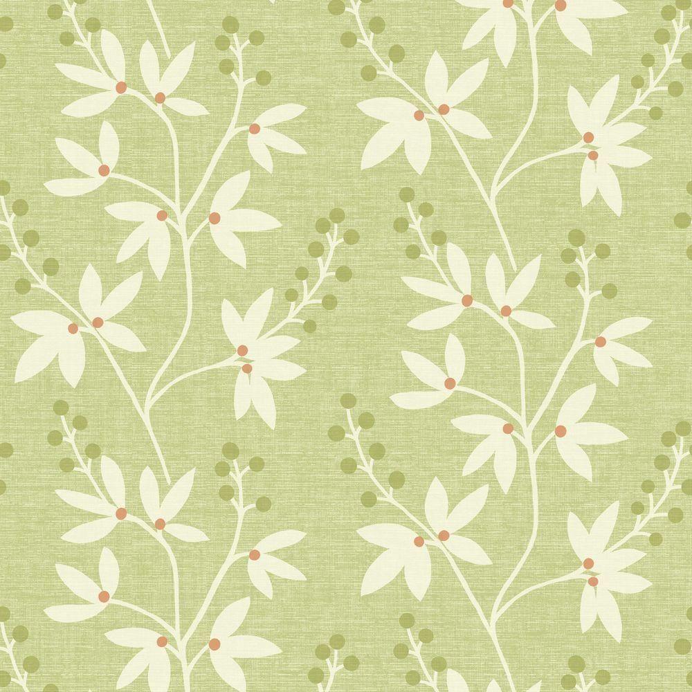 H Currant Green Botanical Trail Wallpaper Sample