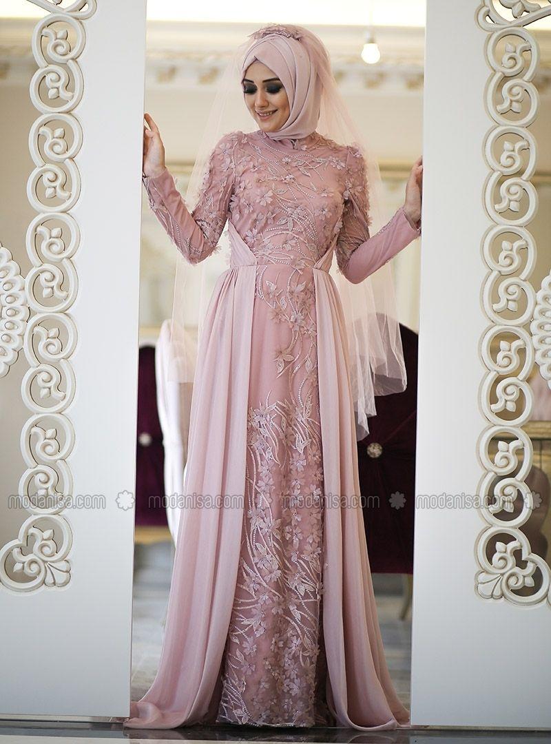 İpek Abiye Elbise - Pudra - Minel Aşk  Gaun formal, Model pakaian