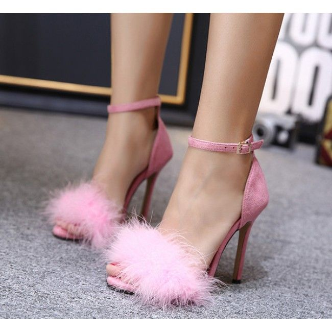 b0f1d6dfe00 Pink Suede Ankle Strap Faux Fur High Heel Sandals  SS17    ShanghaiTrends.co.uk