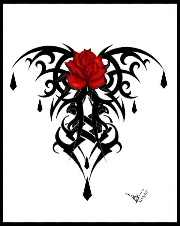 Gothic Rose Tattoo Print V2 by Quicksilverfury on deviantART