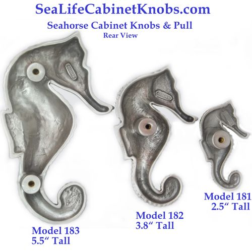 Rear View Of Seahorse Cabinet Knobs From The Sea Life Cabinet Knobs  Collection By Peter Costello. Cast In Fine Pewter, Various Finishes  Available.