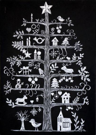 Scandi Christmas Tree Drawing.Alternative Christmas Tree Like This With 12 Days Of Xmas