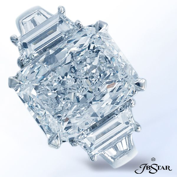 JB Star engagement ring features a 408ct radiant diamond center
