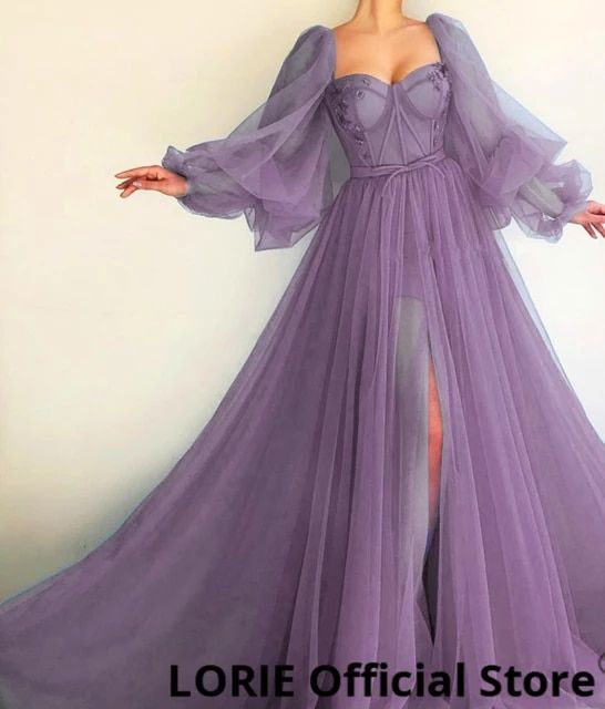 77.39US $ 40% OFF|LORIE Blue Prom Dresses Long Puf