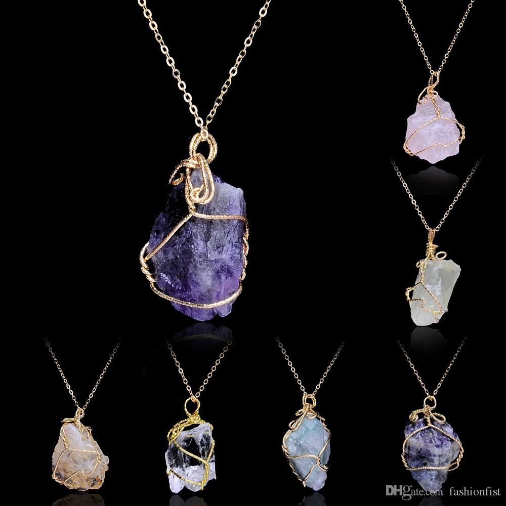 Natural Crystal Quartz Healing Point Chakra Gem Bead Stone Pendant for Necklace
