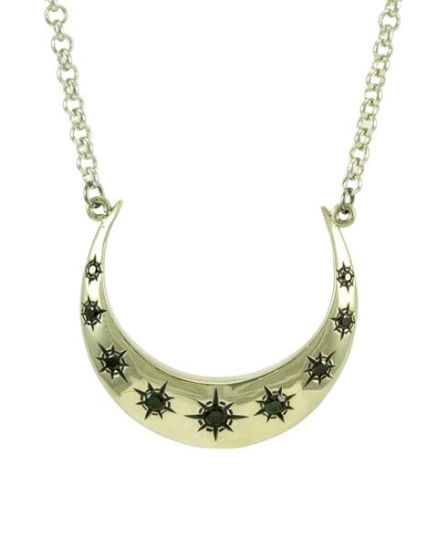crescent moon necklace white bronze maison de morgana