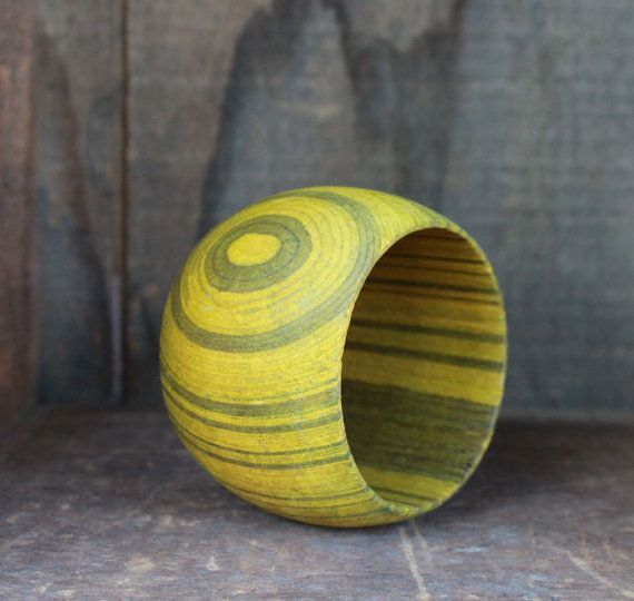 Chartreuse Wooden Bracelet via Etsy.
