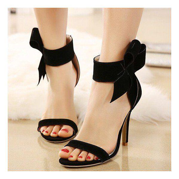 Black Side Bow Heels Open Toe Ankle Strap Stiletto Heel Sandals