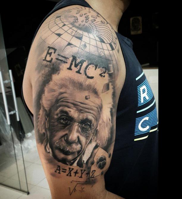 Oberarm Tattoo Albert Einstein Porträt Tattoo Favorites