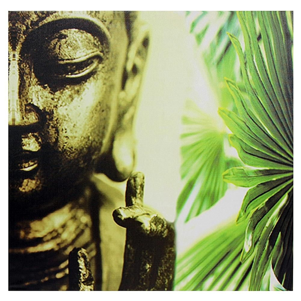 Home Marketplace Oriental Furniture Golden Buddha Canvas Wall Art ...