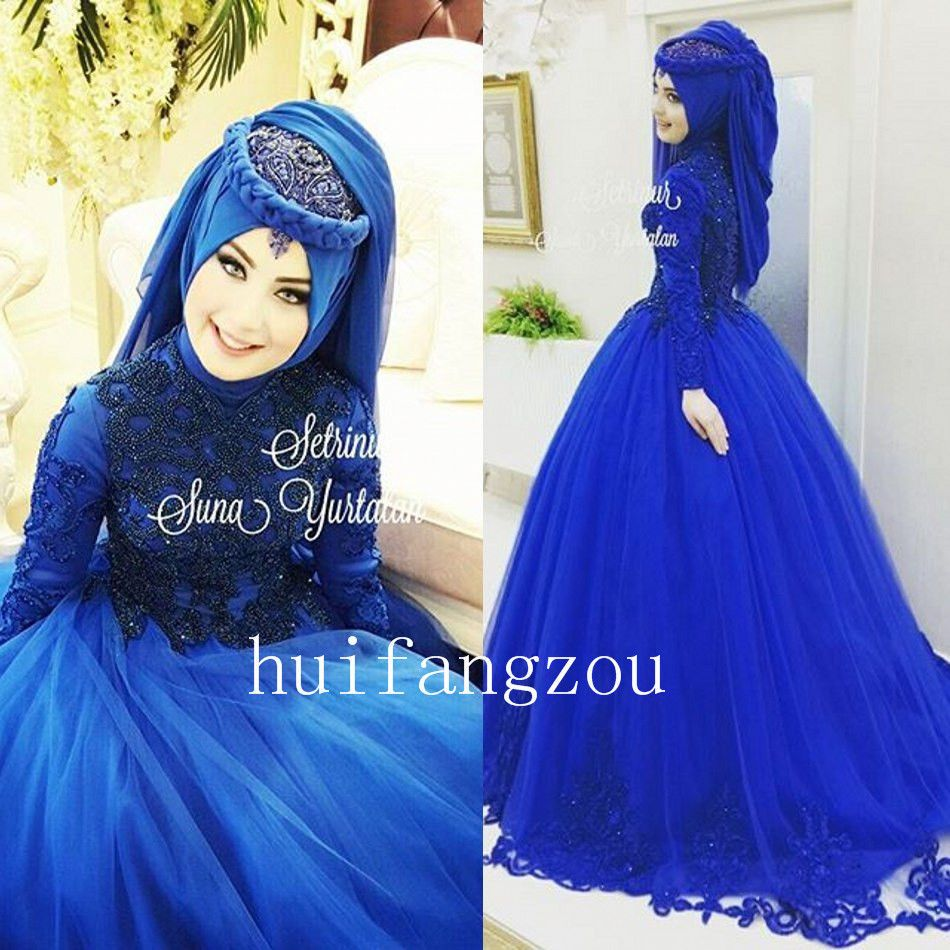Royal Blue Muslim Wedding Dresses Formal Gown Appliques Beaded