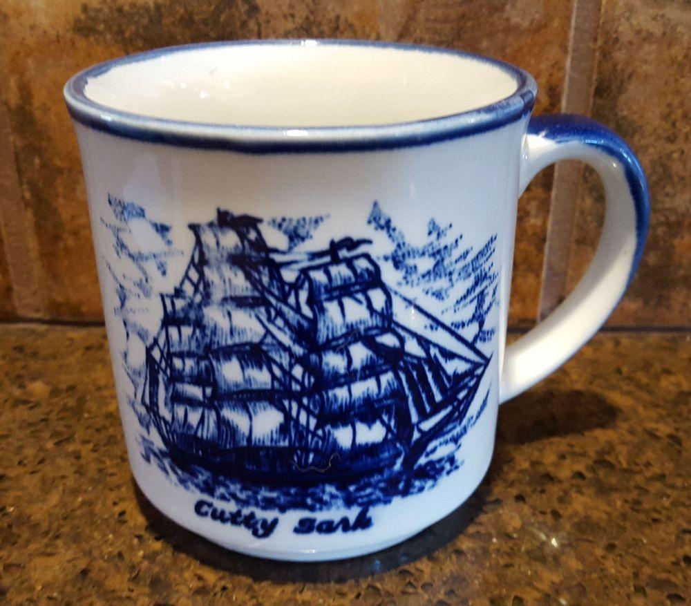 Cutty Sark Blue & White Coffee Mug British Clipper Ship