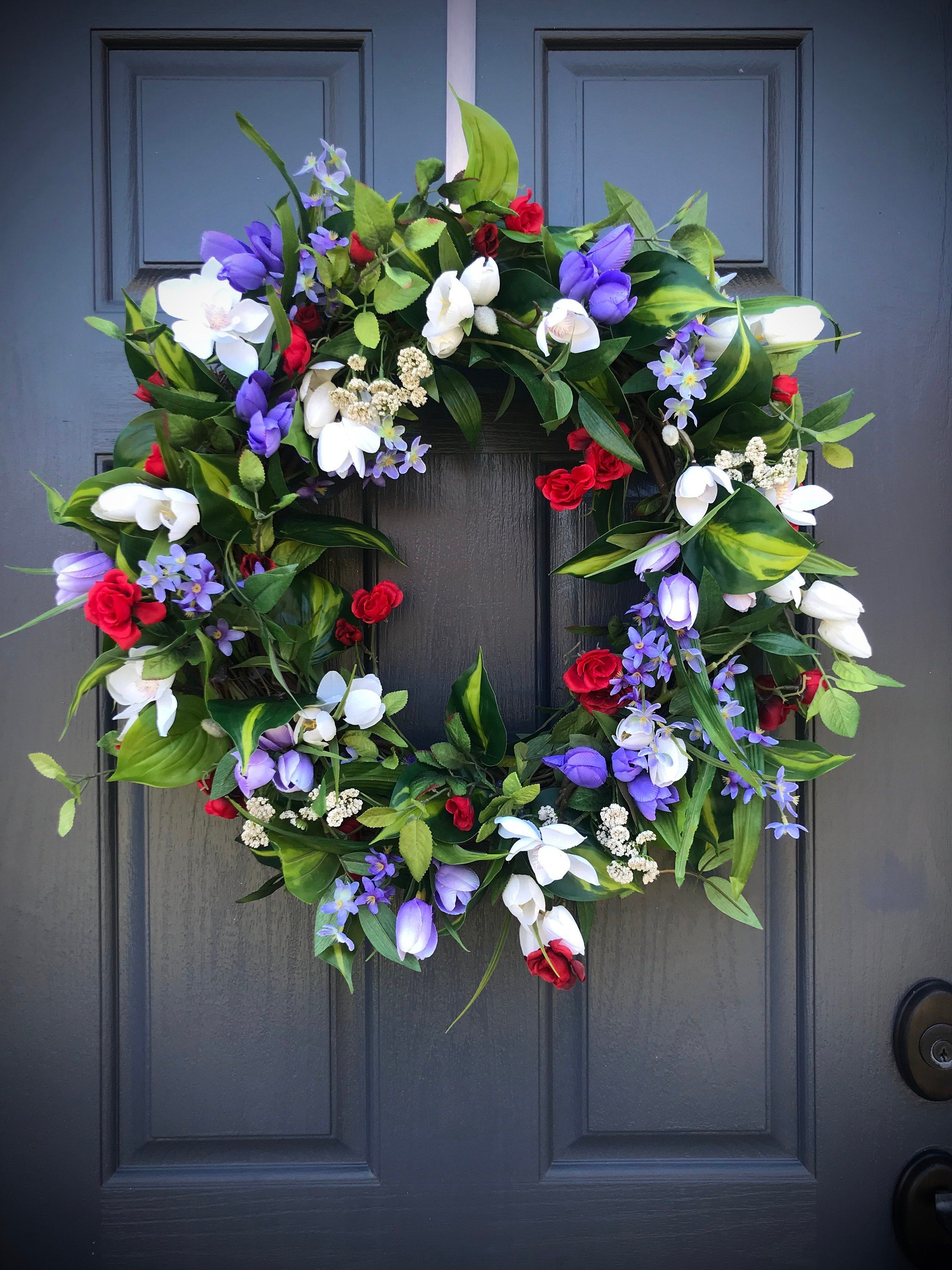 Spring Wreath Purple Red White Wreaths Door Wreath Spring Decorating Mothers Day Gift Housewarming Gift Spring D Spring Door Wreaths Spring Wreath White Wreath
