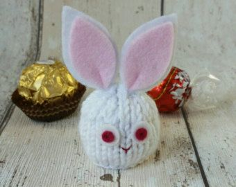 Knitting Easter Bunnies : Bunny rabbit party favour hand knitted easter white