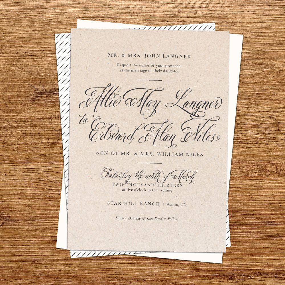 Rustic Wedding Invitation kraft paper wedding by kxodesign on Etsy ...