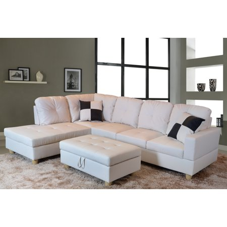 Aycp Furniture L Shape Traditional Sectional Sofa Set With Ottoman