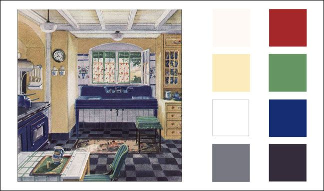 1930 kitchen color palatte. over the color scheme which i could