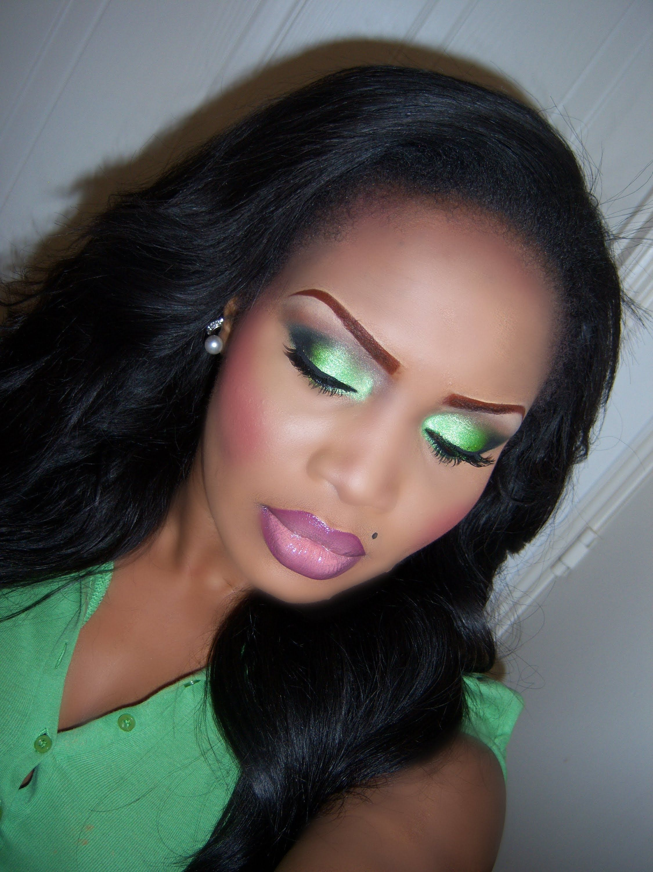 burnt orange lipstick for black women | lime green smokey