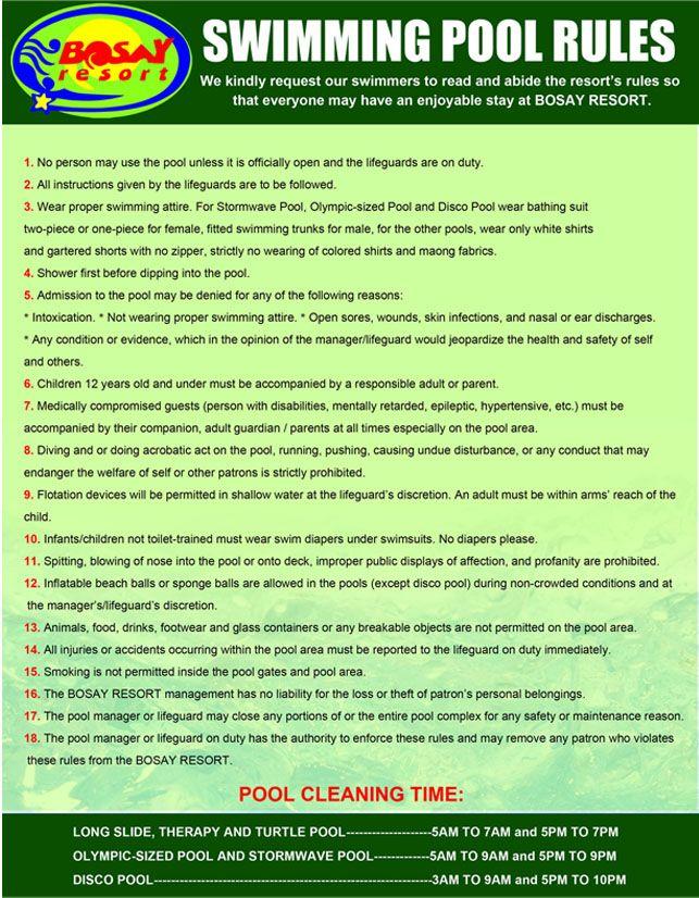 Resultado De Imagen Swimming Pool Rules And Regulations