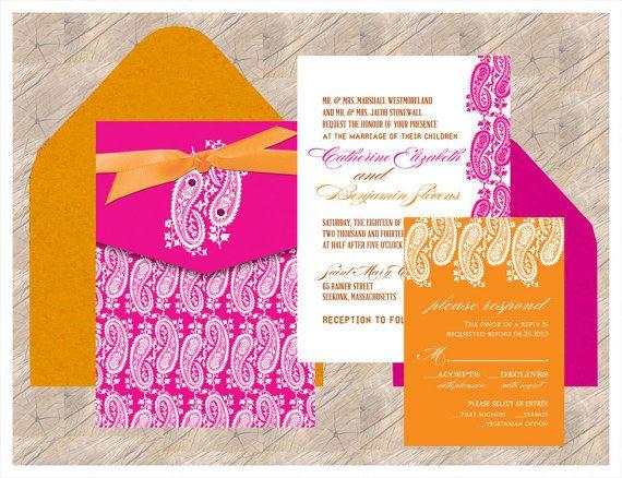 Indian Wedding Invitation Fuschia & Mandarin by InvitationShop, $2.85