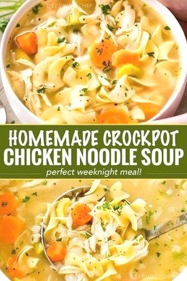 Homemade Crockpot Chicken Noodle Soup   Soup Recipes Ideas images