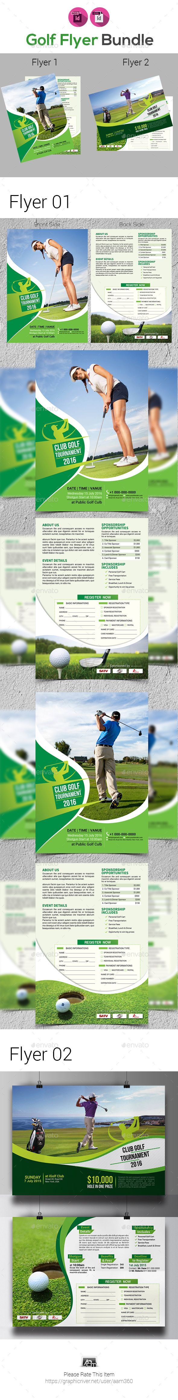 Golf Tournament Flyer Bundle Template  Template Adobe Indesign