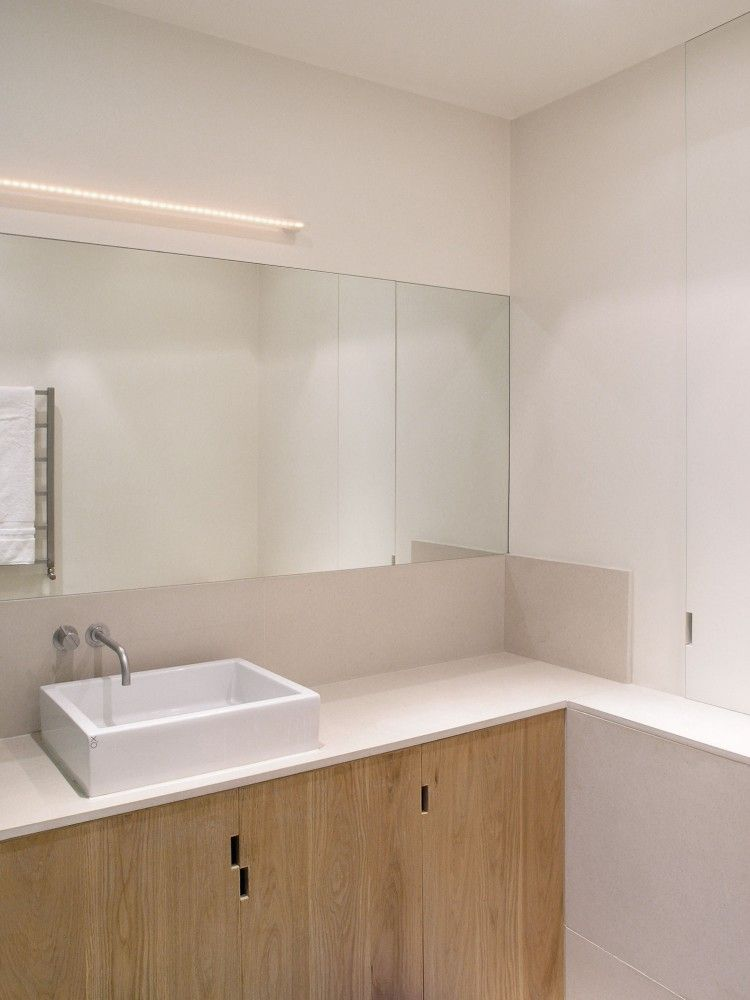 hole finger pulls - shower room - Charlotte Road, Shoreditch, London - McLaren.Excell