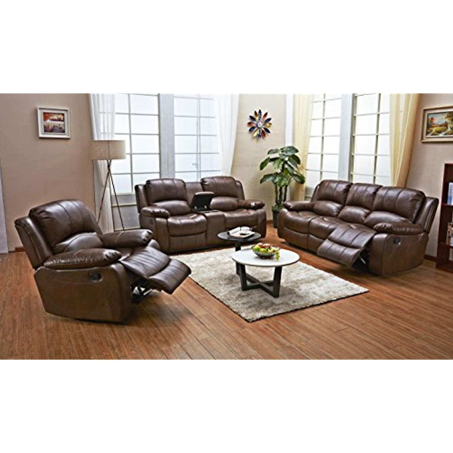 Betsy Furniture 3pc Bonded Leather Recliner Set Living Room Set In Brown Sofa Loveseat Chair Pill Couches Living Room 3 Piece Living Room Set Living Room Sets