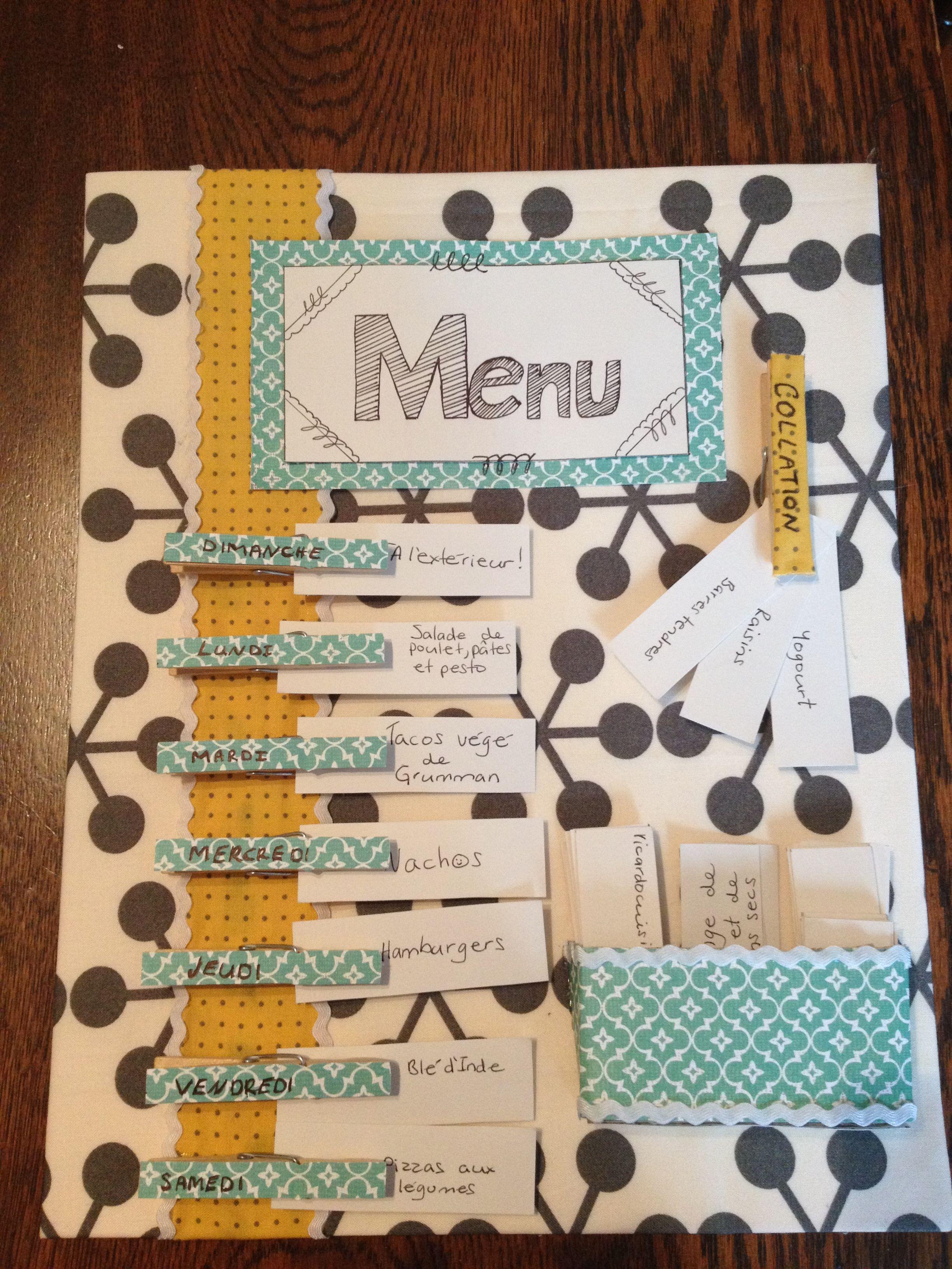 ma premi re cr ation menu de la semaine tr s utile pour. Black Bedroom Furniture Sets. Home Design Ideas