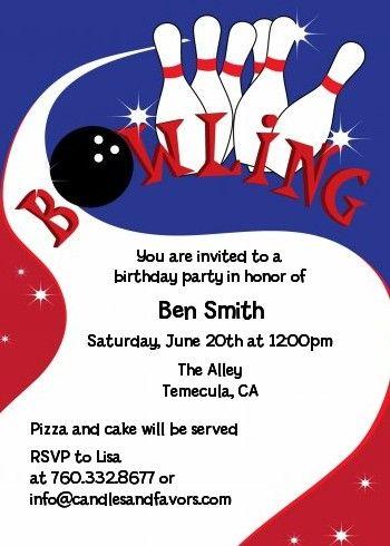 Bowling Boy  Birthday Party Invitations  Boy Birthday Bowling