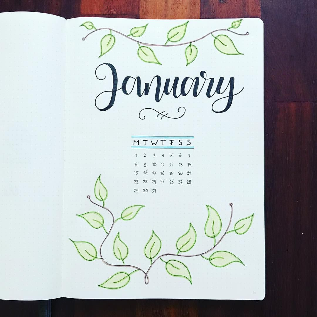 "@my_bulletjournal_journey on Instagram: ""Hello January! � . . . #hellojanuary #january #monthly #monthlyspread #leaves #bulletjournaling #bujo #bulletjournal #bujolove…"""